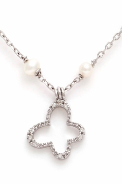 Shoptiques Product: Butterfly Pearl-diamond Necklace