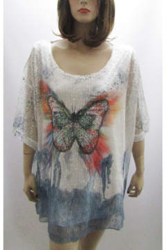 Shoptiques Product: BUTTERFLY PRINT MESH TOP