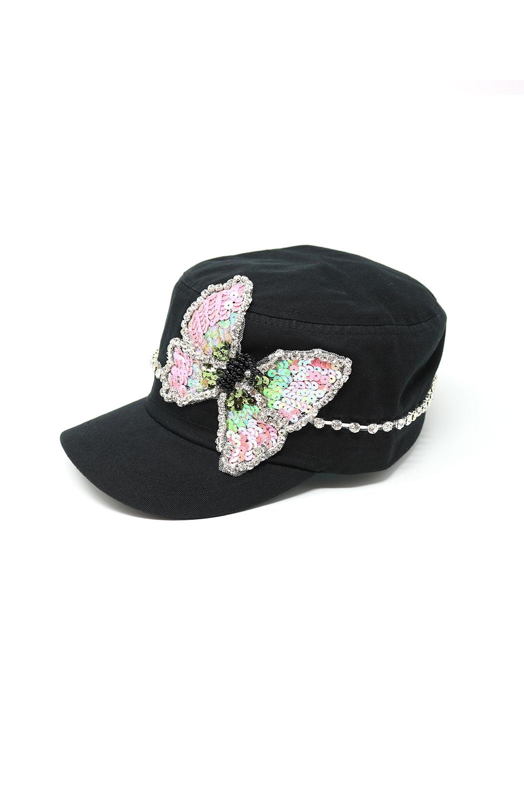 Nadya's Closet Butterfly Sequins Rhinestone-Cap - Front Full Image