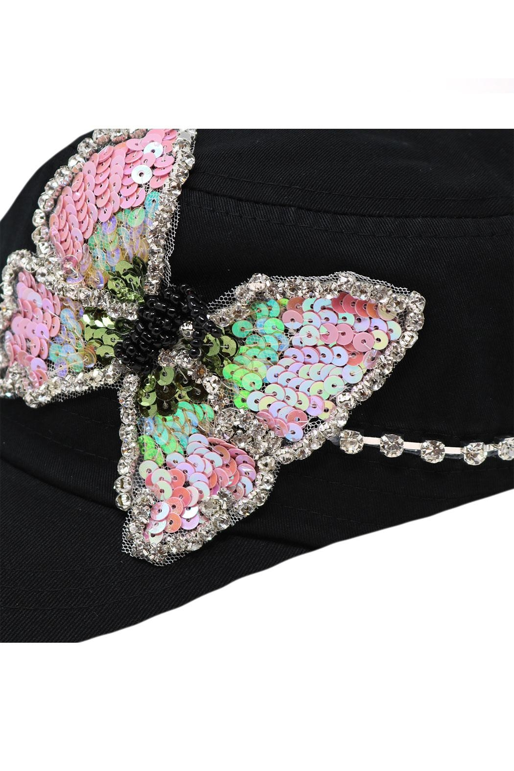 Nadya's Closet Butterfly Sequins Rhinestone-Cap - Back Cropped Image
