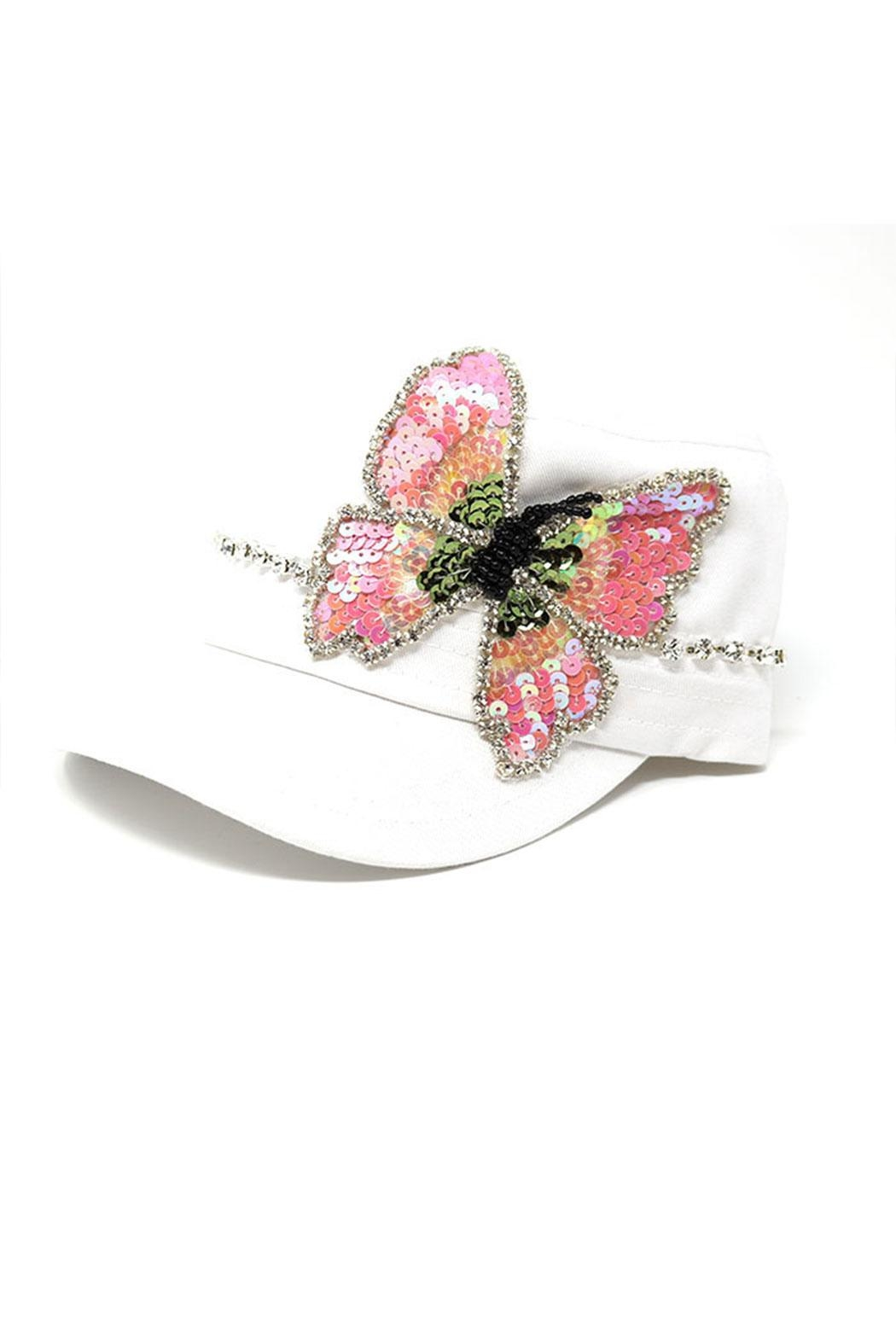 Nadya's Closet Butterfly Sequins Rhinestone-Cap - Front Cropped Image