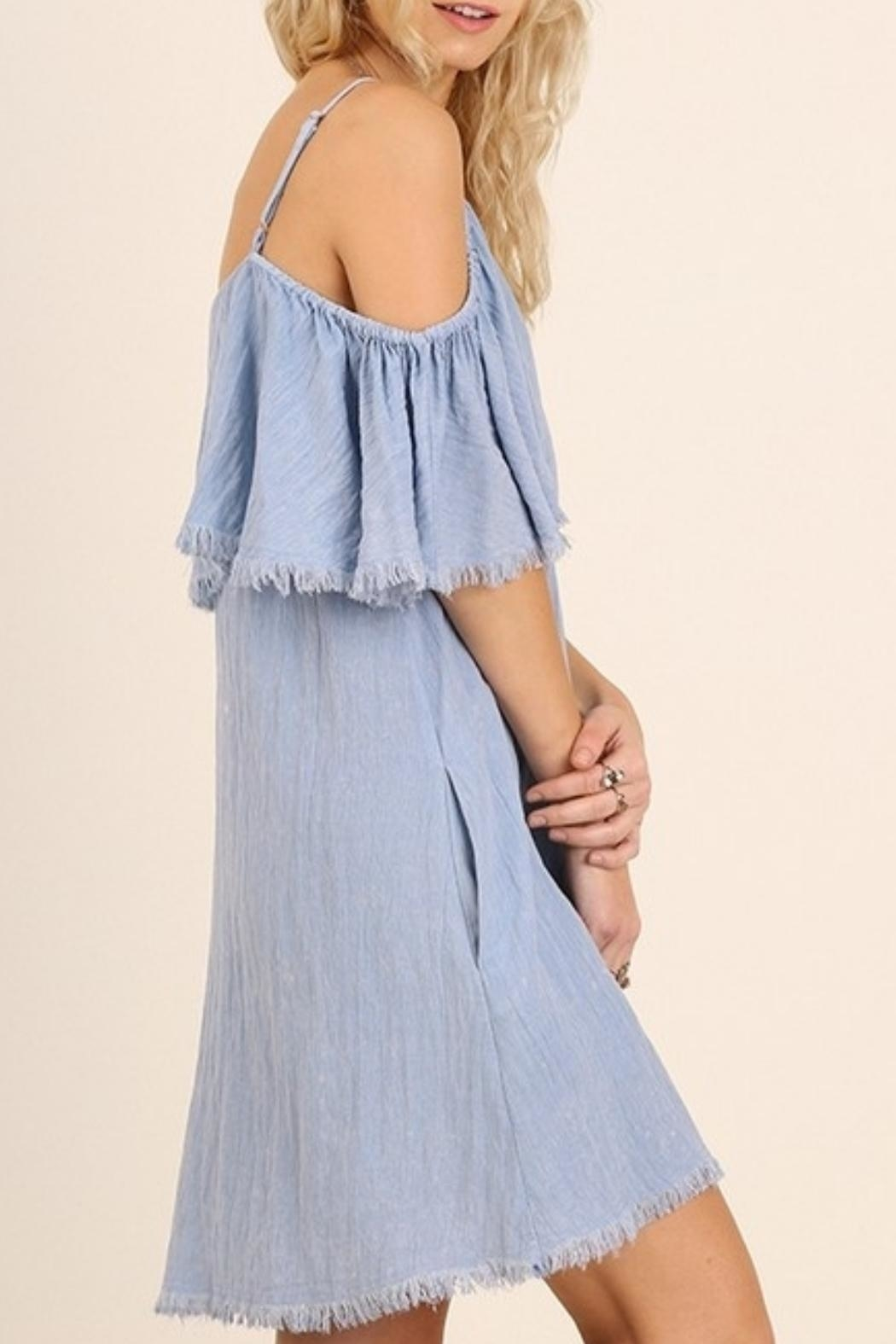 Umgee USA Butterfly Sleeve Dress - Front Full Image