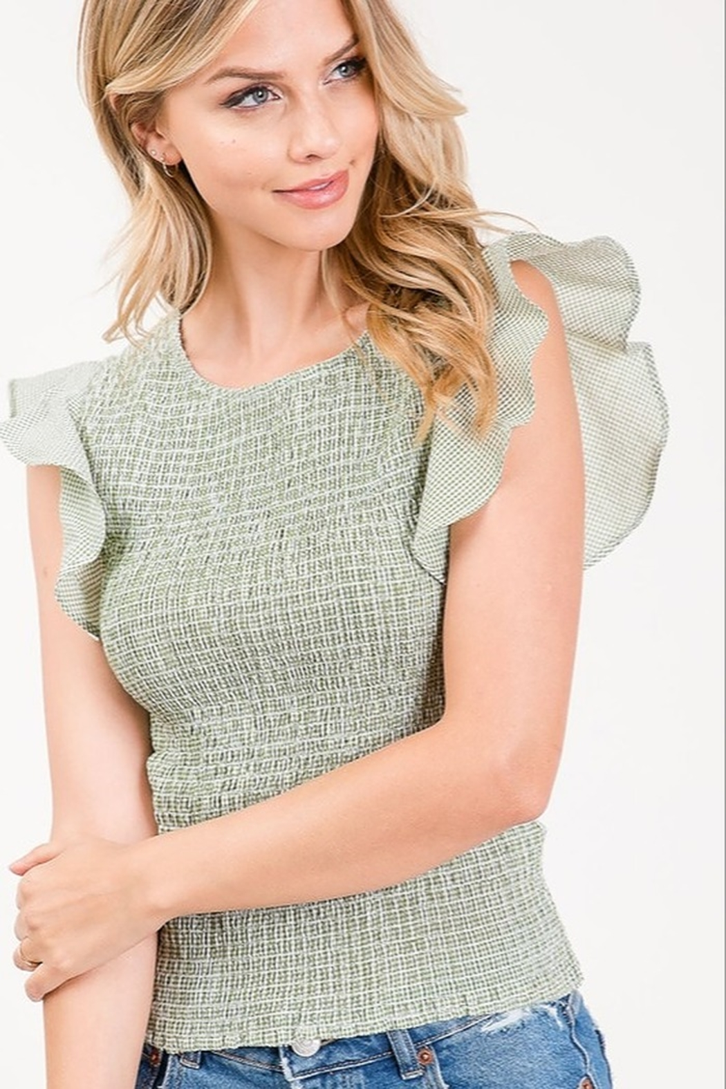 Sweet Generis Butterfly Sleeve Top - Front Cropped Image