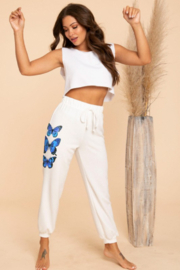 Blue Buttercup Butterfly Sweatpants - Side cropped
