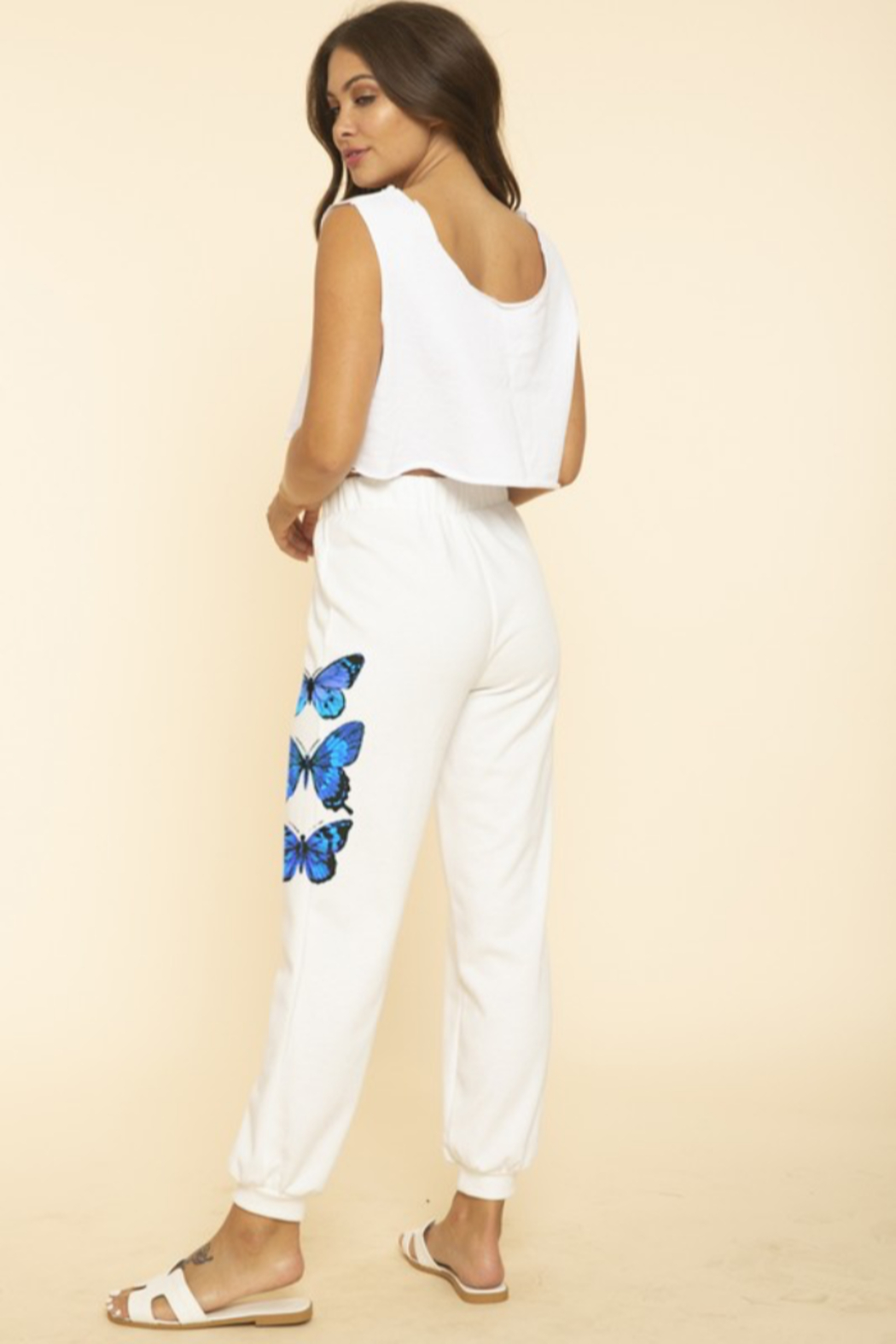 Blue Buttercup Butterfly Sweatpants - Back Cropped Image