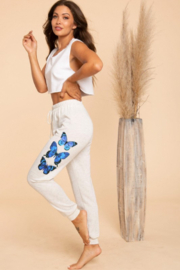 Blue Buttercup Butterfly Sweatpants - Front cropped