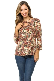 Cubism Butterfly V-Neck Top - Product Mini Image