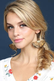 Riah Fashion Butterfly-Wings Threader Earrings - Side cropped
