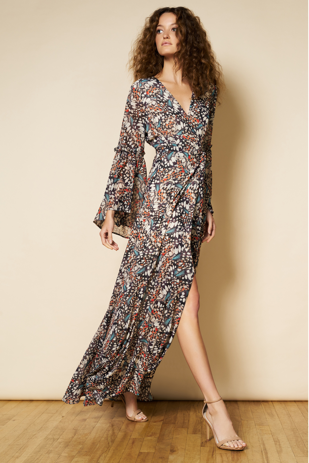 HUTCH Butterfly Wrap Maxi Dress - Front Cropped Image