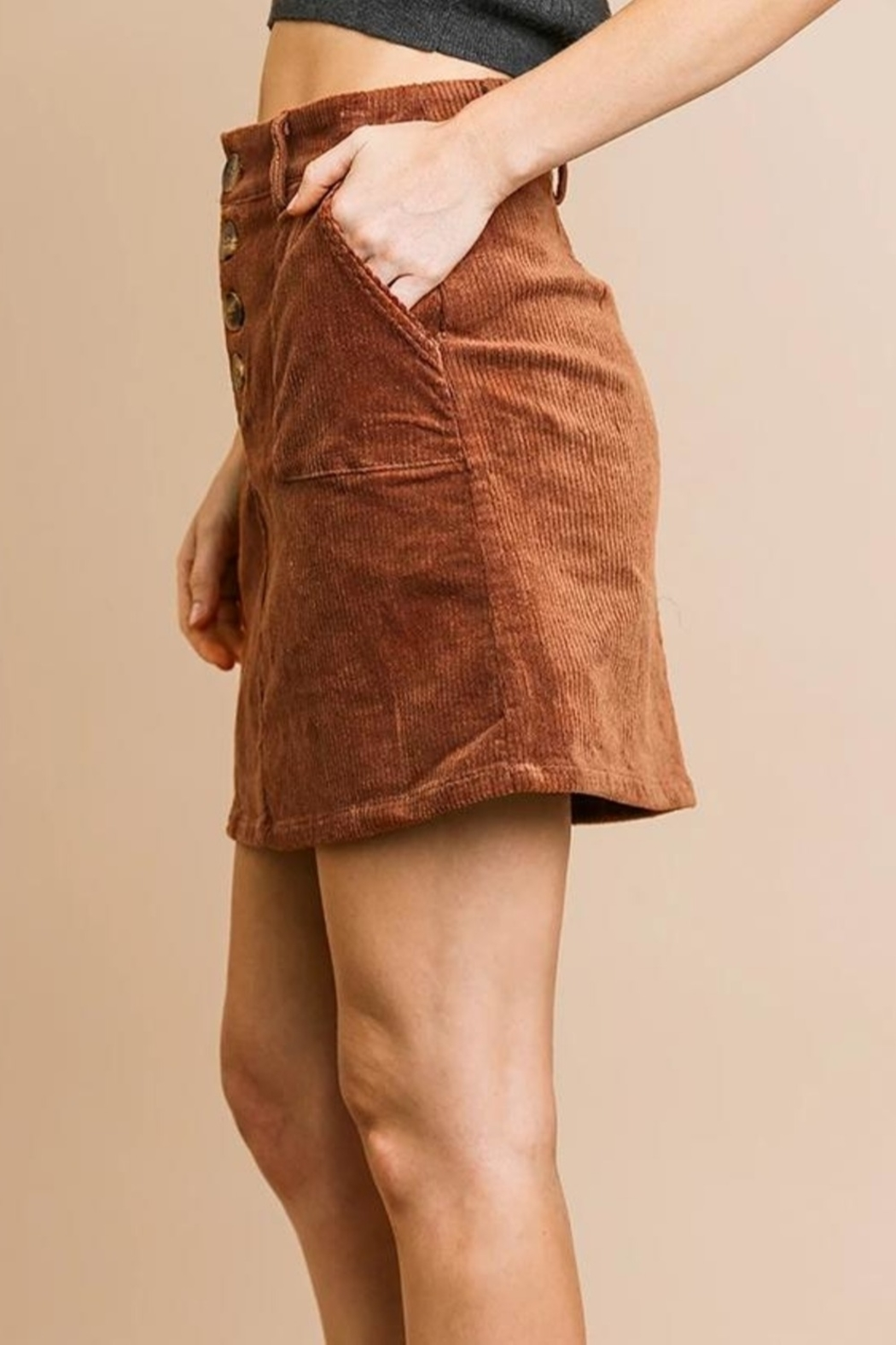 Umgee USA Button Babe Skirt - Front Full Image