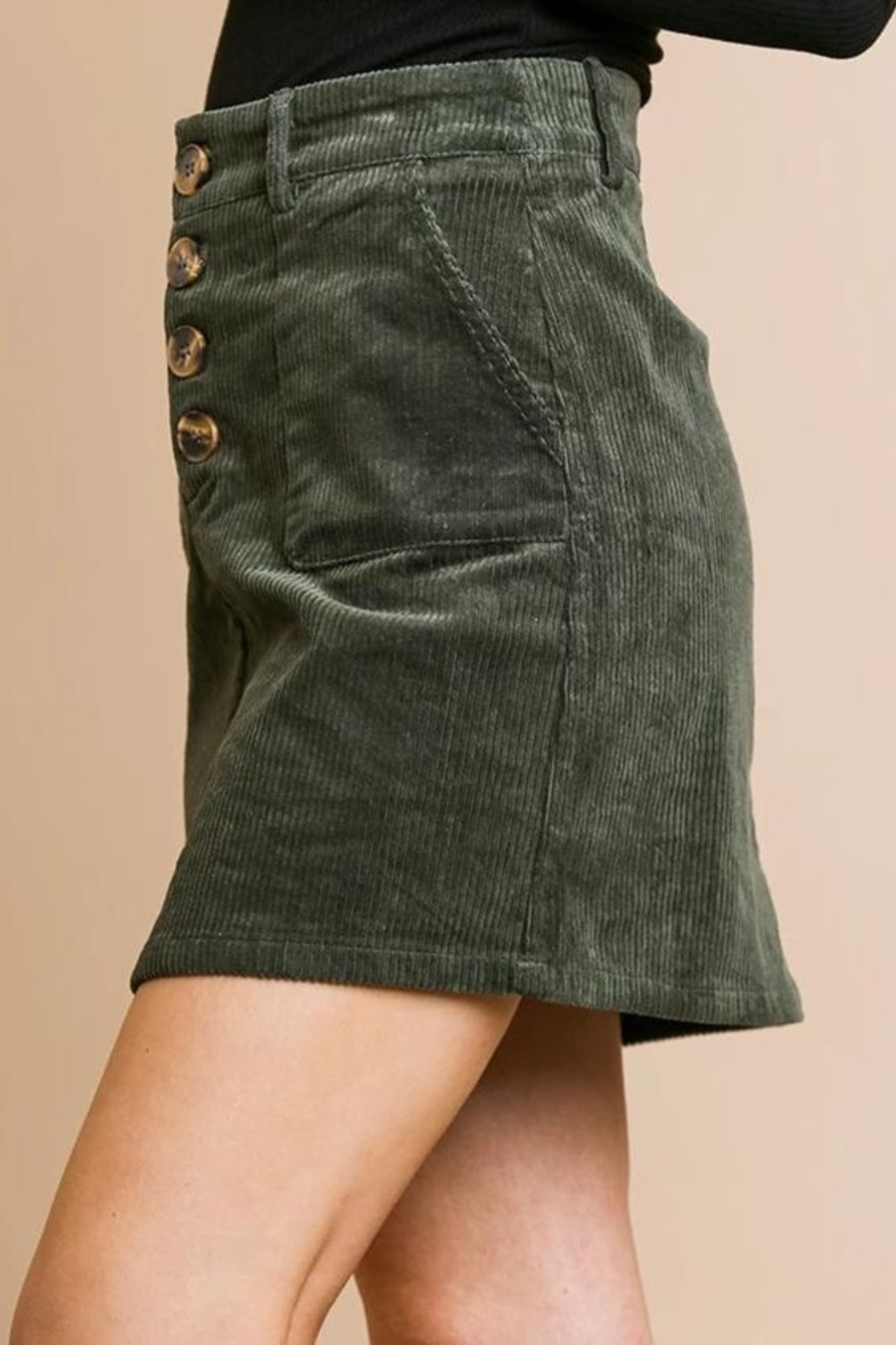 Umgee USA Button Babe Skirt - Front Cropped Image