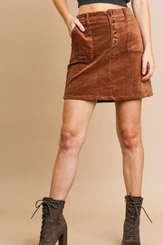 Umgee USA Button Babe Skirt - Front cropped