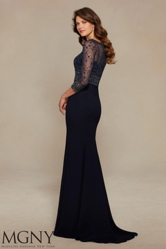 MGNY Button Back Jacket Gown, Navy - Alternate List Image