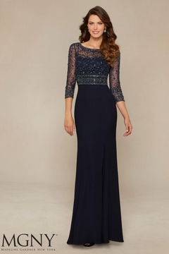 MGNY Button Back Jacket Gown, Navy - Product List Image