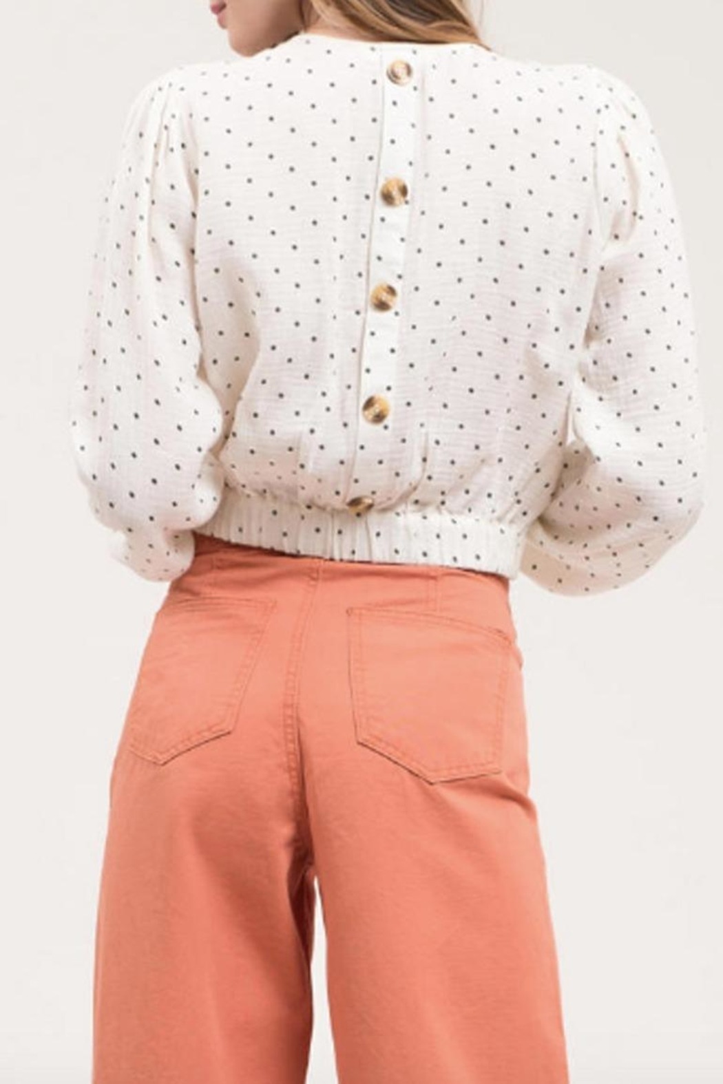 Blu Pepper Button-Back Polka-Dot Top - Front Full Image