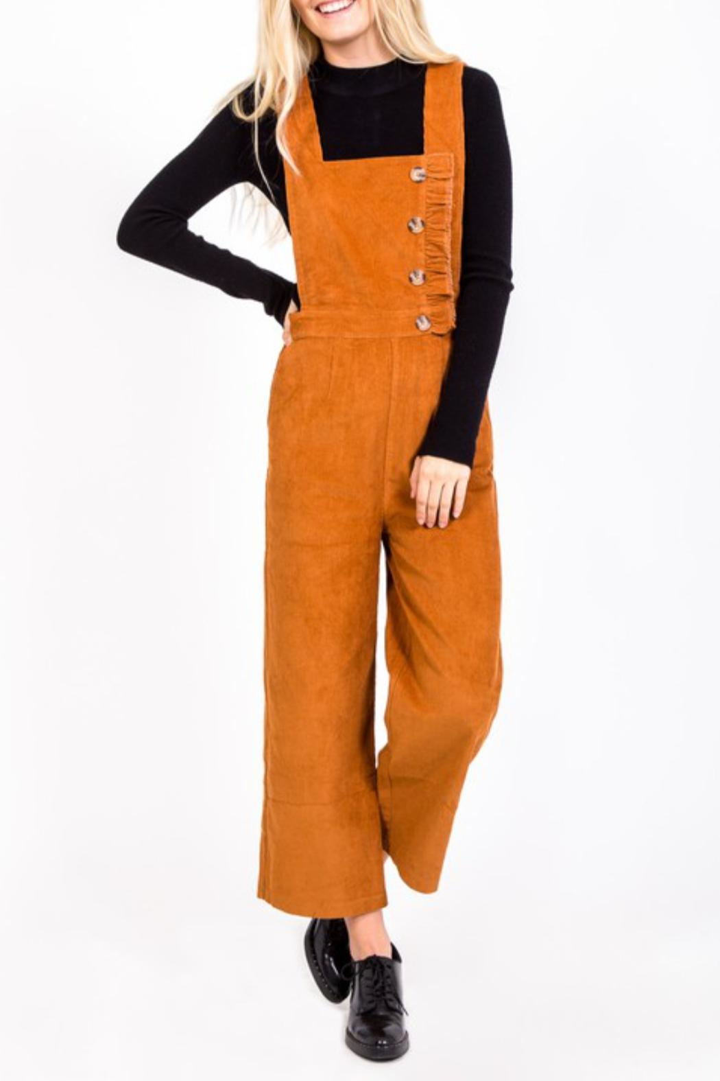 LoveRiche Button Corduroy Overall - Back Cropped Image