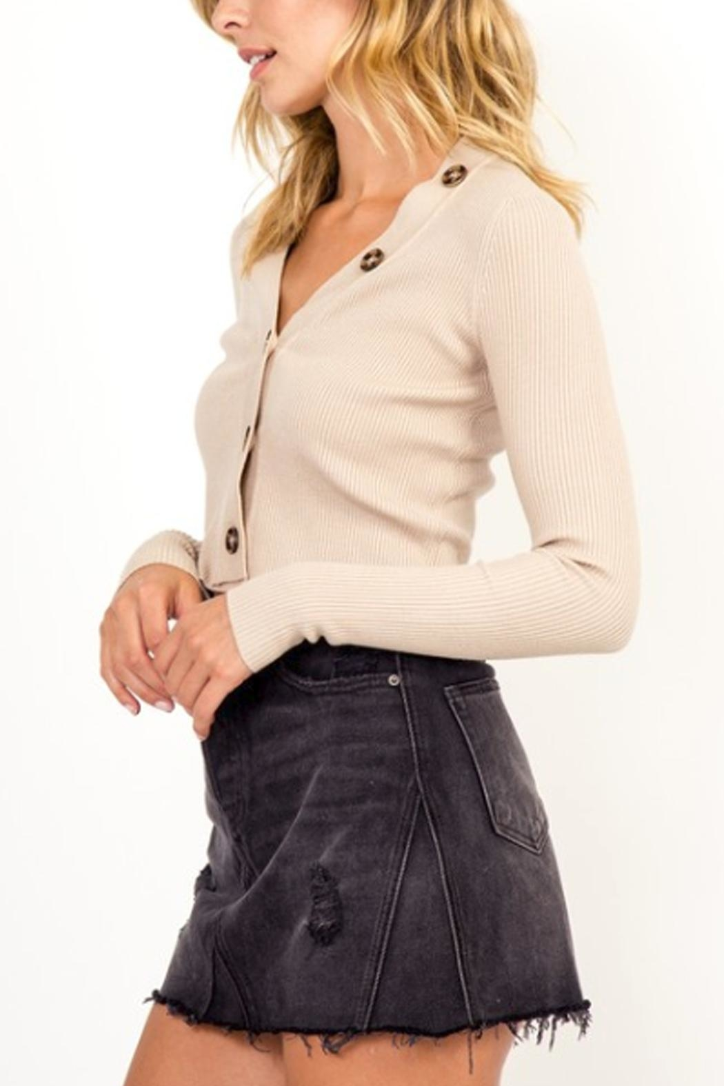 Olivaceous Button Cropped Sweater - Front Full Image