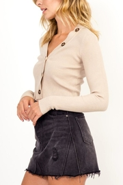 Olivaceous Button Cropped Sweater - Front full body