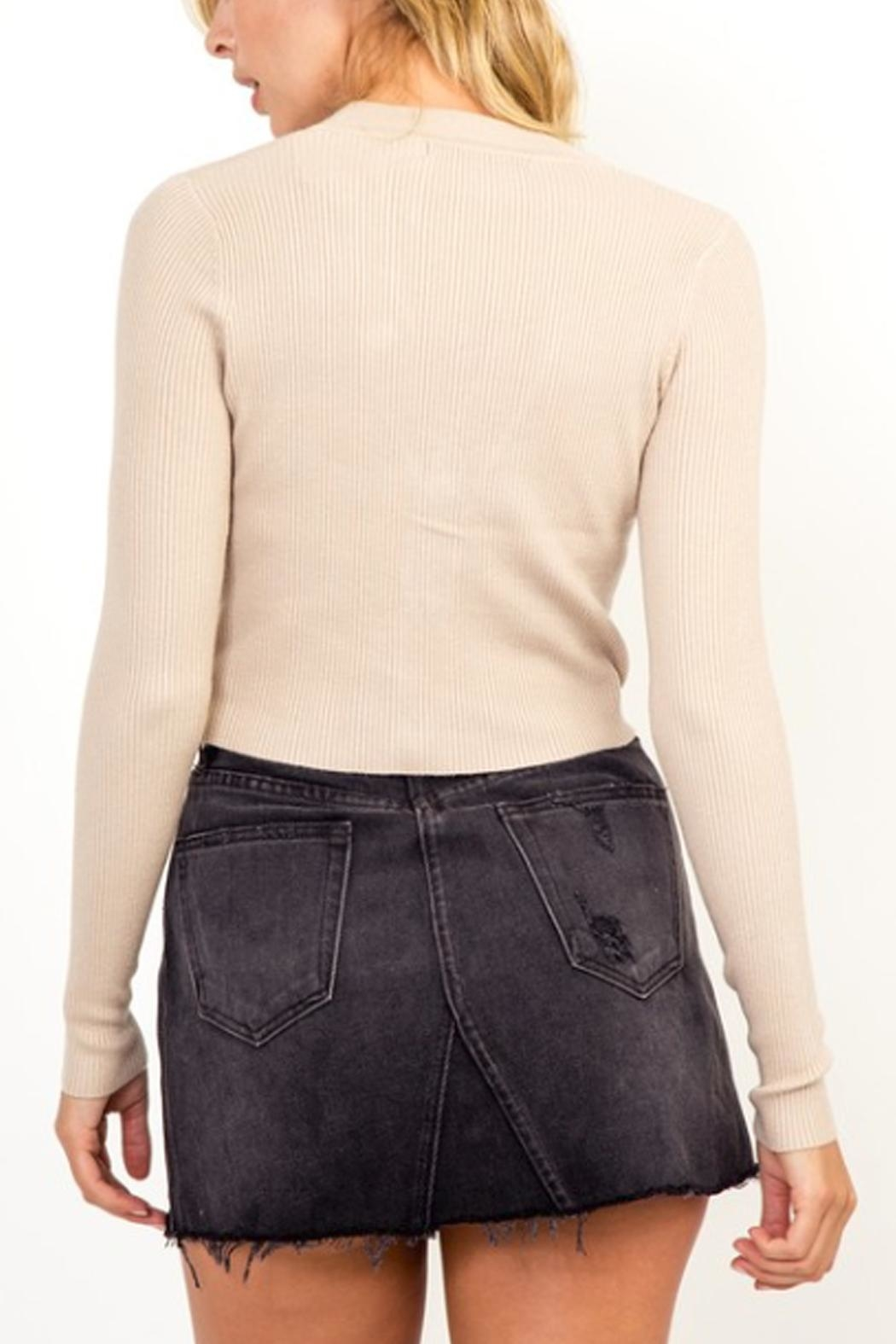 Olivaceous Button Cropped Sweater - Side Cropped Image