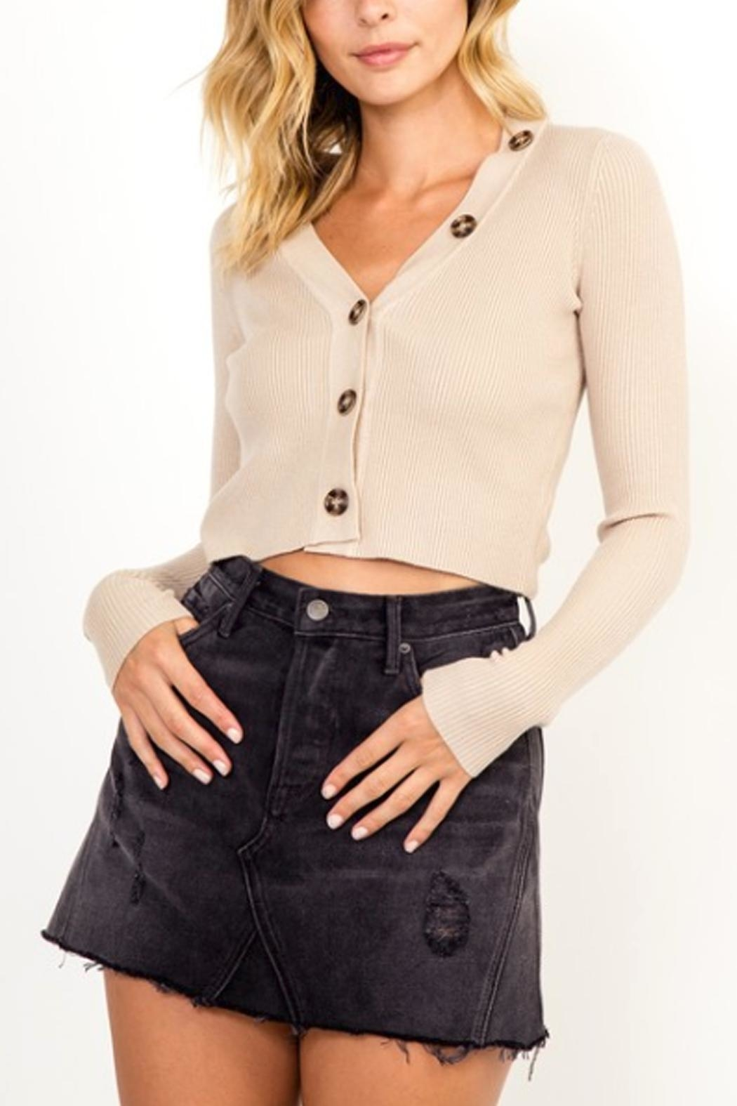 Olivaceous Button Cropped Sweater - Main Image