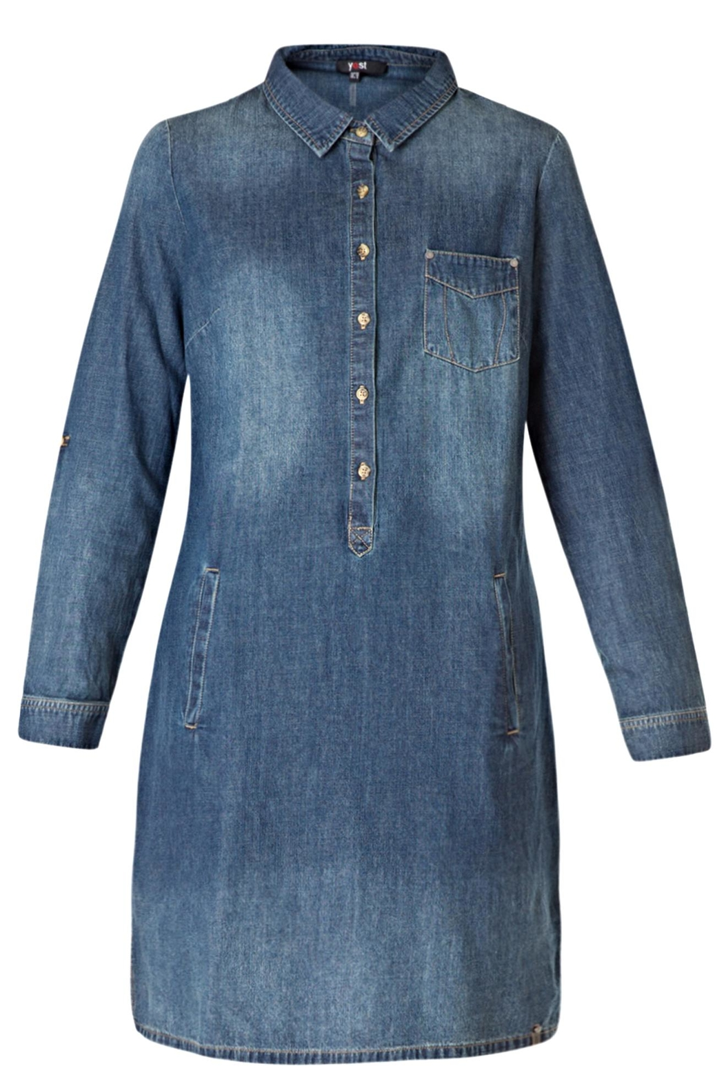 Yest Button Denim Dress - Front Cropped Image