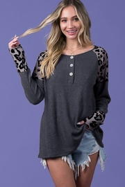 Blue Buttercup Button Detail Leopard Top - Product Mini Image