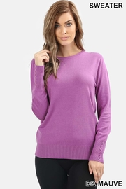 Zenana Outfitters Button Detail Sweater - Product Mini Image