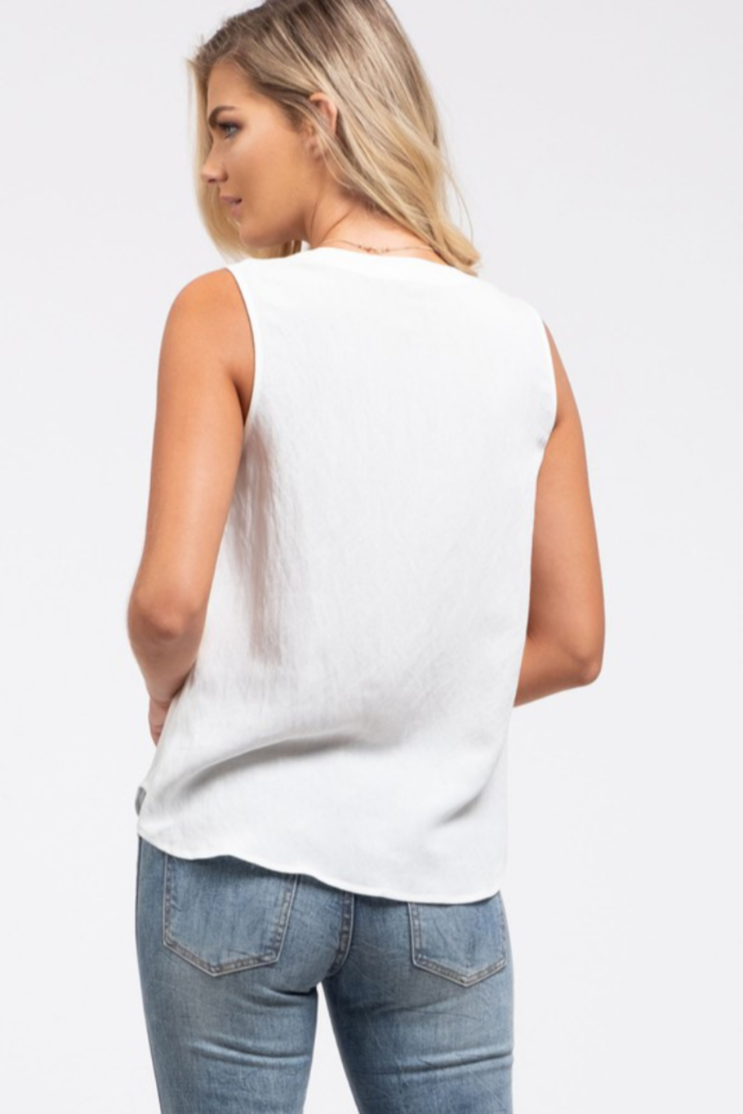 blu Pepper  Button Detail Woven Top - Front Full Image