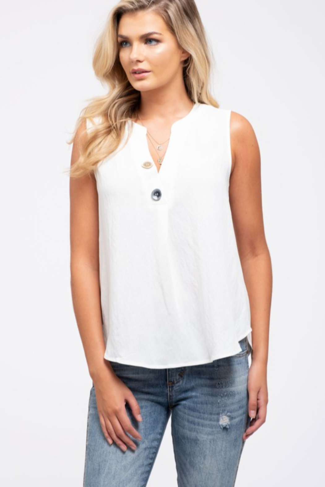 blu Pepper  Button Detail Woven Top - Front Cropped Image