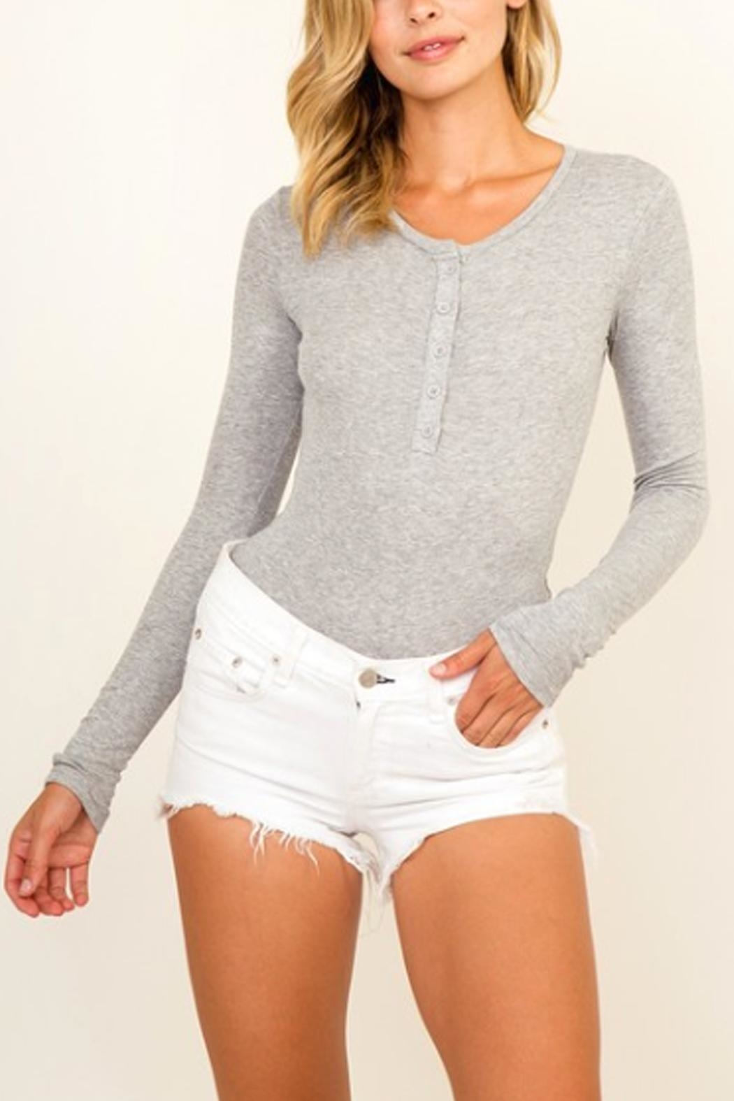 Olivaceous Button Down Bodysuit - Front Cropped Image