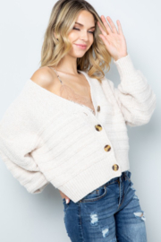 Sweet Lovely Button Down Cable Knit Cardigan - Front full body