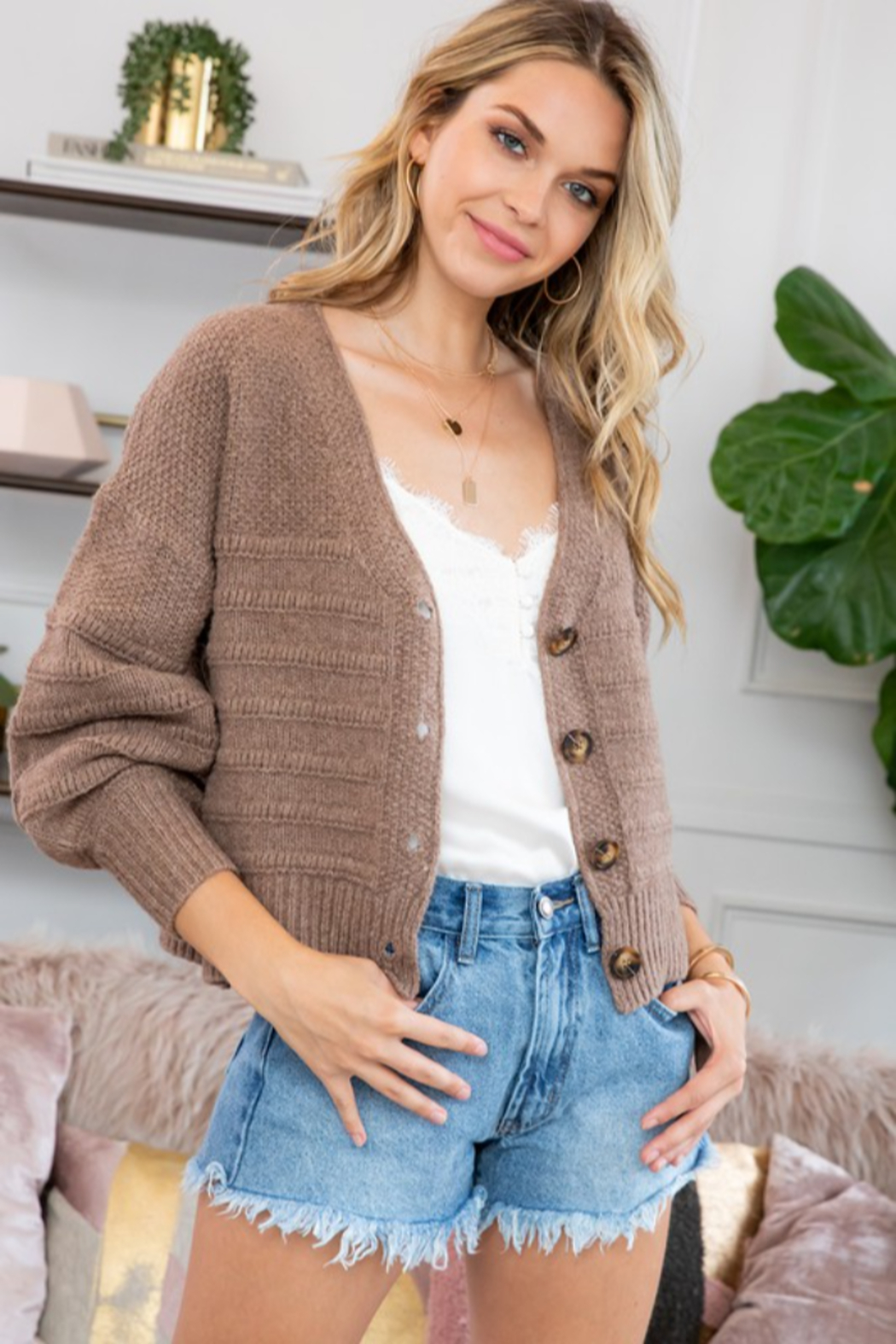 Sweet Lovely Button Down Cable Knit Cardigan - Main Image