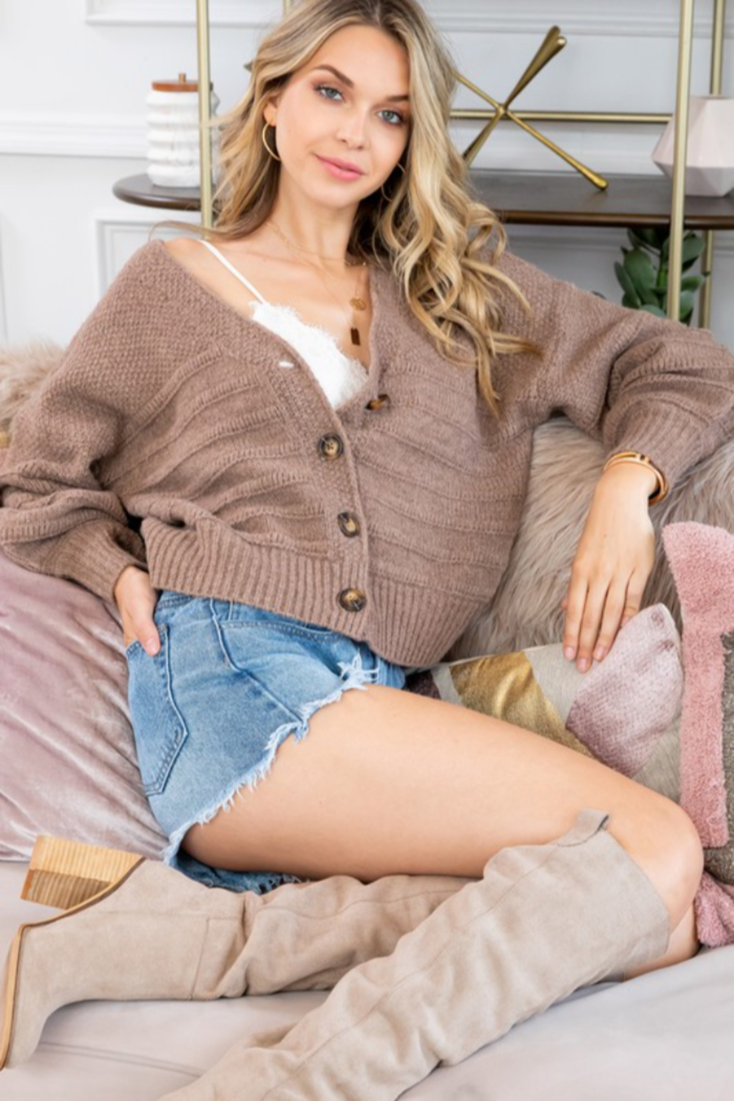 Sweet Lovely Button Down Cable Knit Cardigan - Side Cropped Image