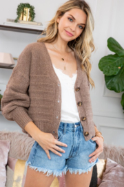 Sweet Lovely Button Down Cable Knit Cardigan - Product Mini Image