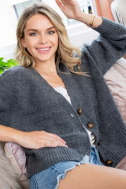 Sweet Lovely Button Down Cable Knit Cardigan - Front cropped