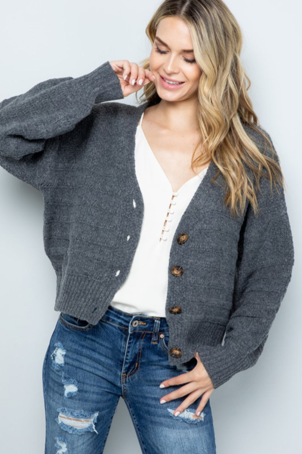 Sweet Lovely Button Down Cable Knit Cardigan - Front Full Image