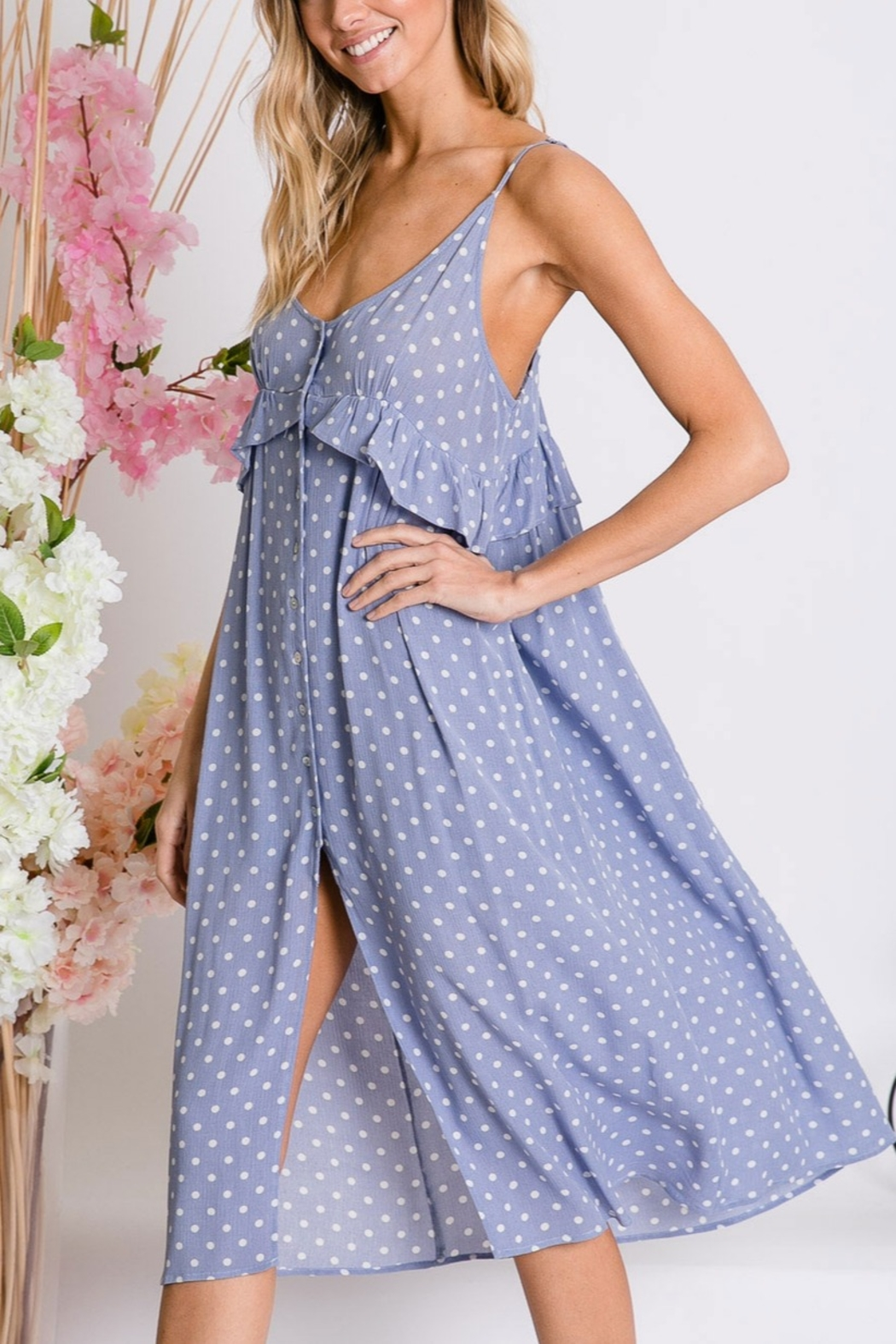 Lyn-Maree's  Button Down Cami Dress - Front Cropped Image