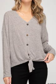 She and Sky Button Down Cardigan with Front Detail - Product Mini Image
