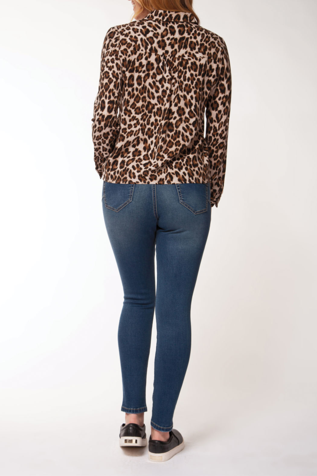 Dex Button down Cheetah Blouse w Tie Bottom - Front Full Image