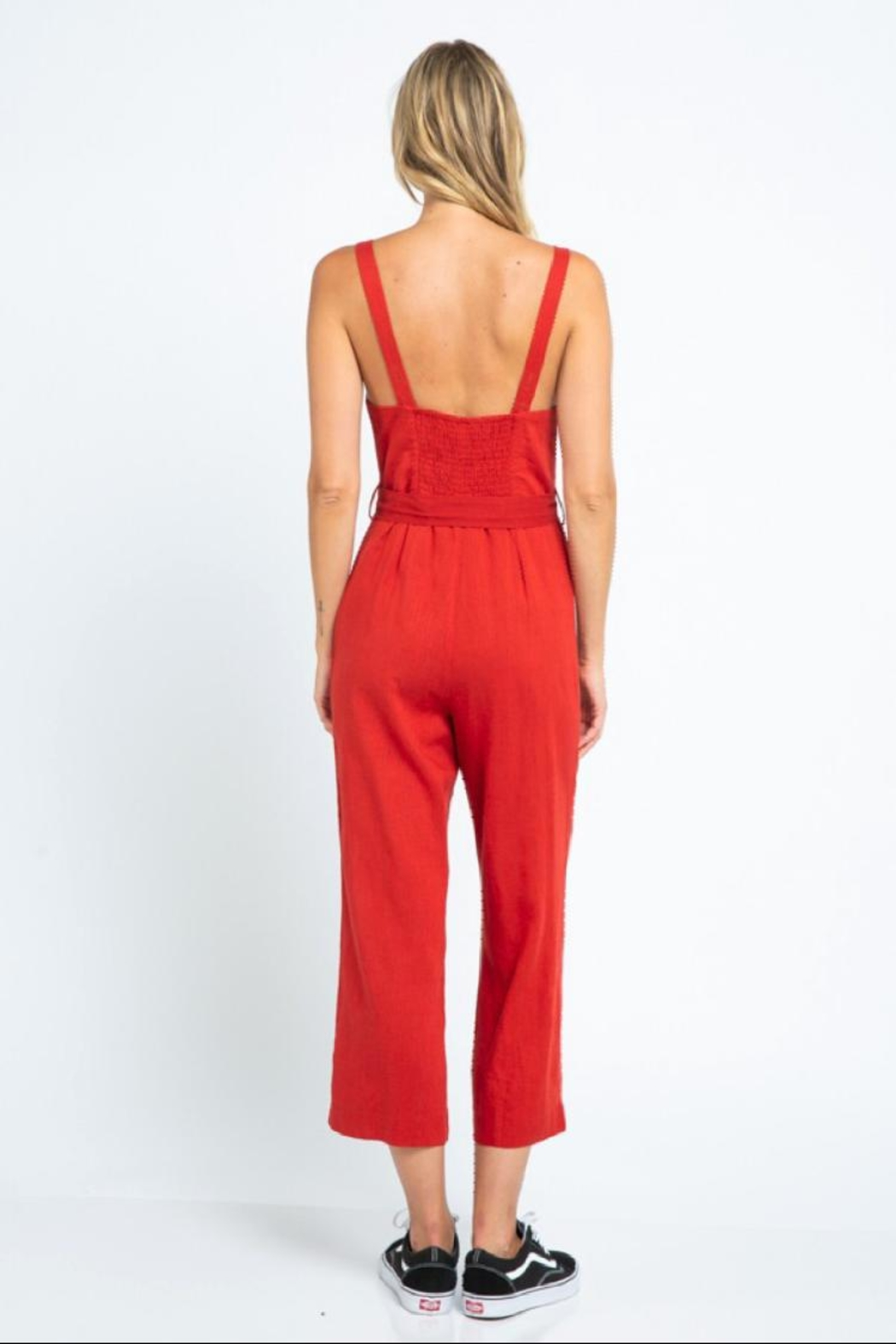 skylar madison Button-Down Crop Jumpsuit - Front Full Image
