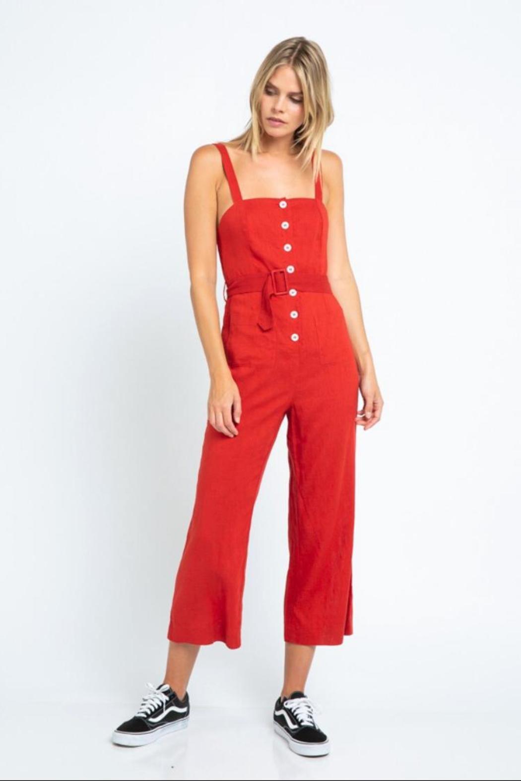 skylar madison Button-Down Crop Jumpsuit - Front Cropped Image