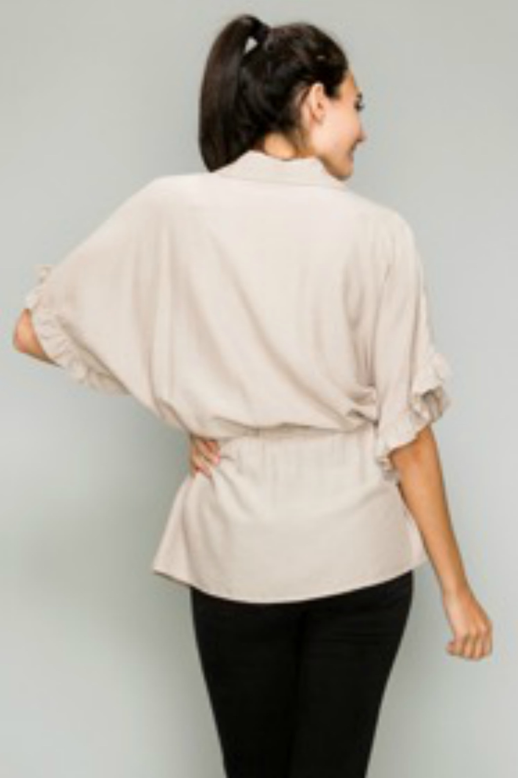 Glam Apparel Button down drawstring ruffle sleeve shirt - Front Full Image