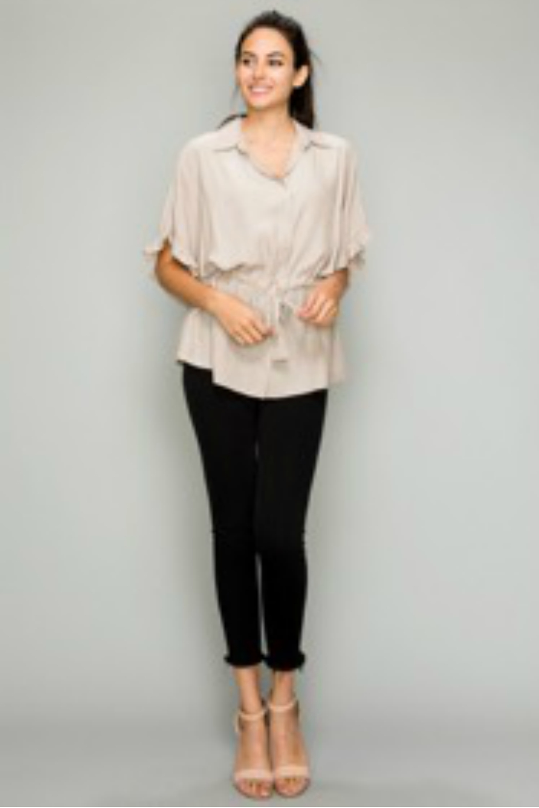 Glam Apparel Button down drawstring ruffle sleeve shirt - Main Image