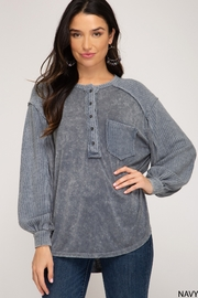 She and Sky Button Down Garment Dye Top - Product Mini Image