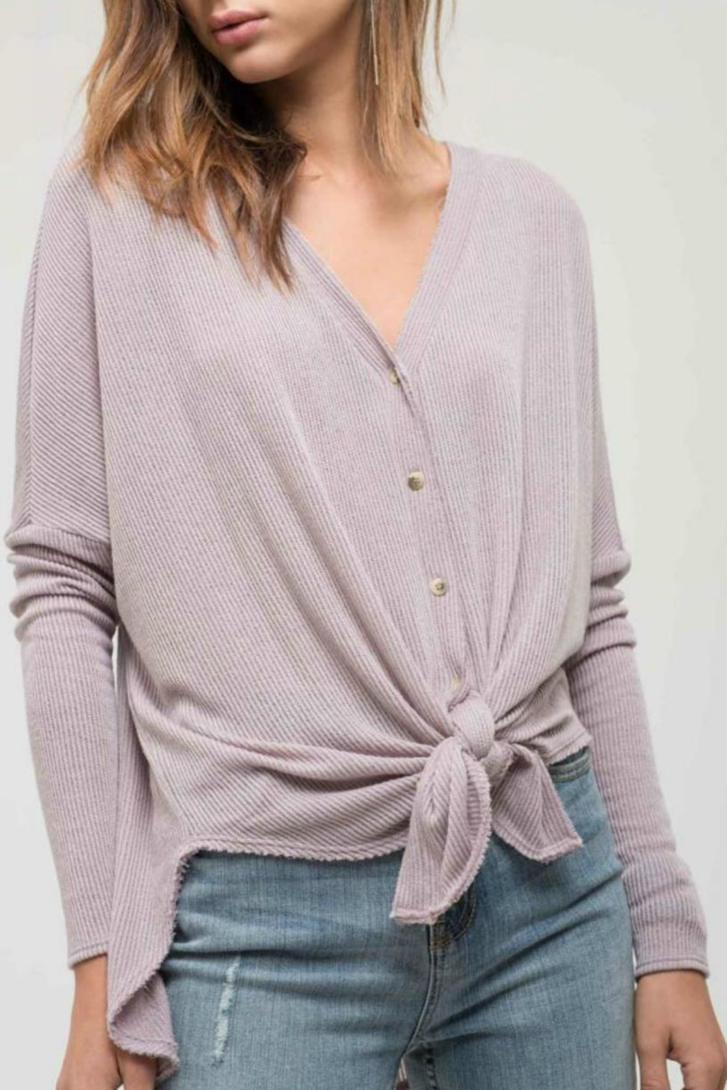Blu Pepper Button-Down Knit Top - Back Cropped Image