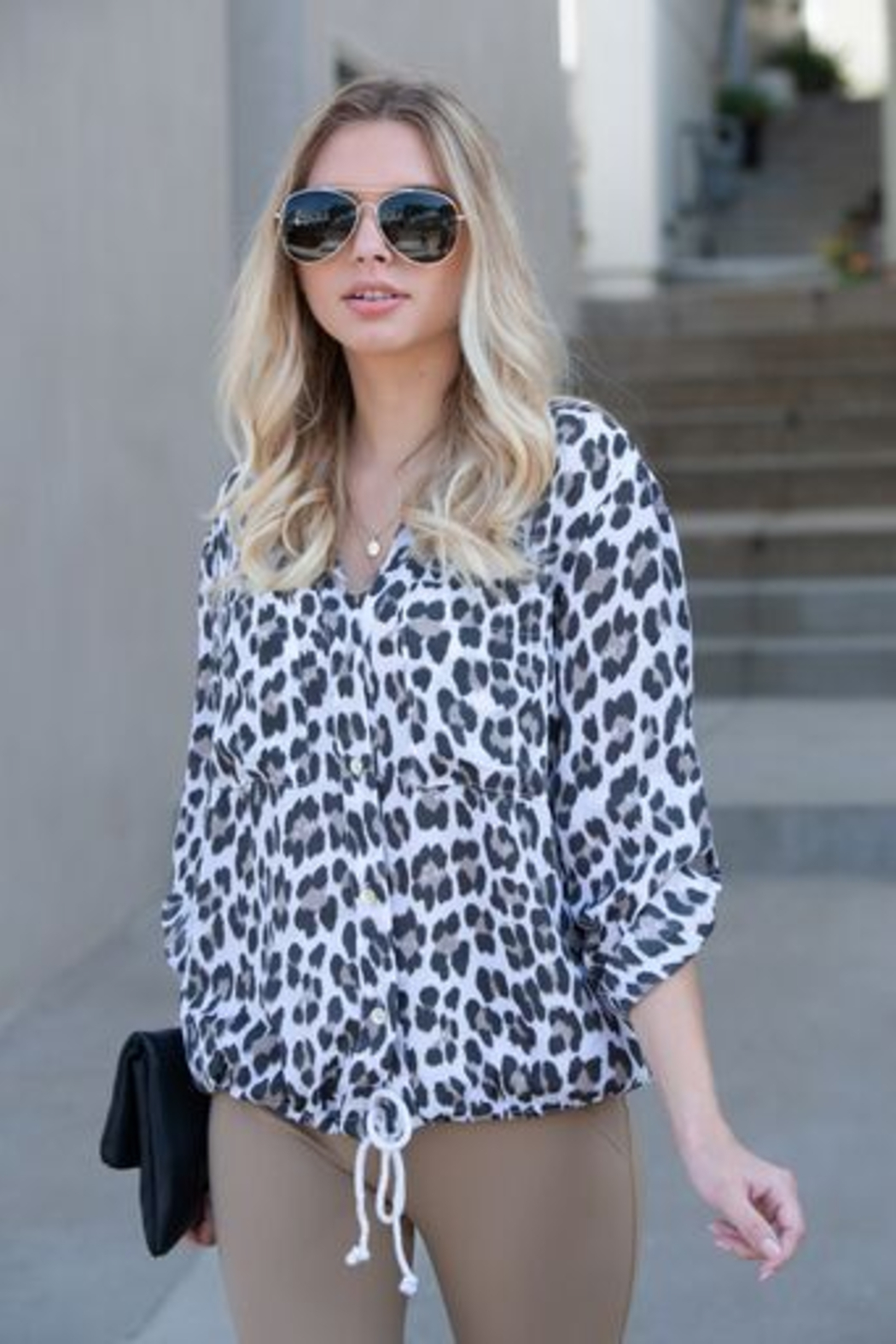 Venti 6 Button Down Leopard - Front Full Image