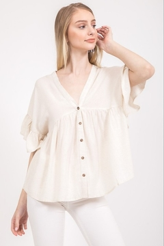Very J Button Down Loose Blouse - Product List Image