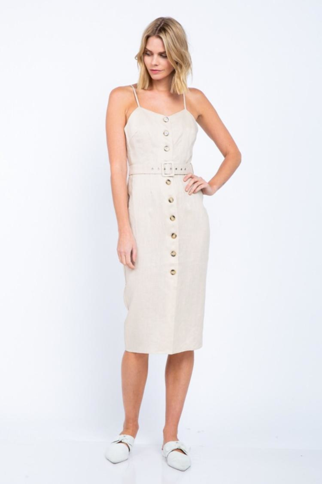 skylar madison Button-Down Midi Dress - Front Cropped Image