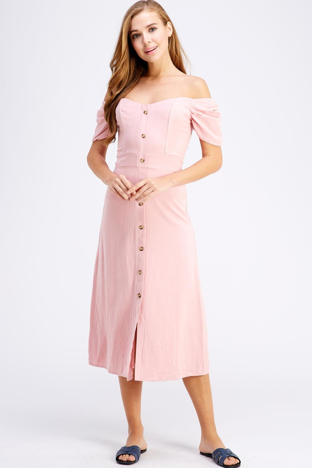 dress forum Button-Down Midi Dress - Front Cropped Image