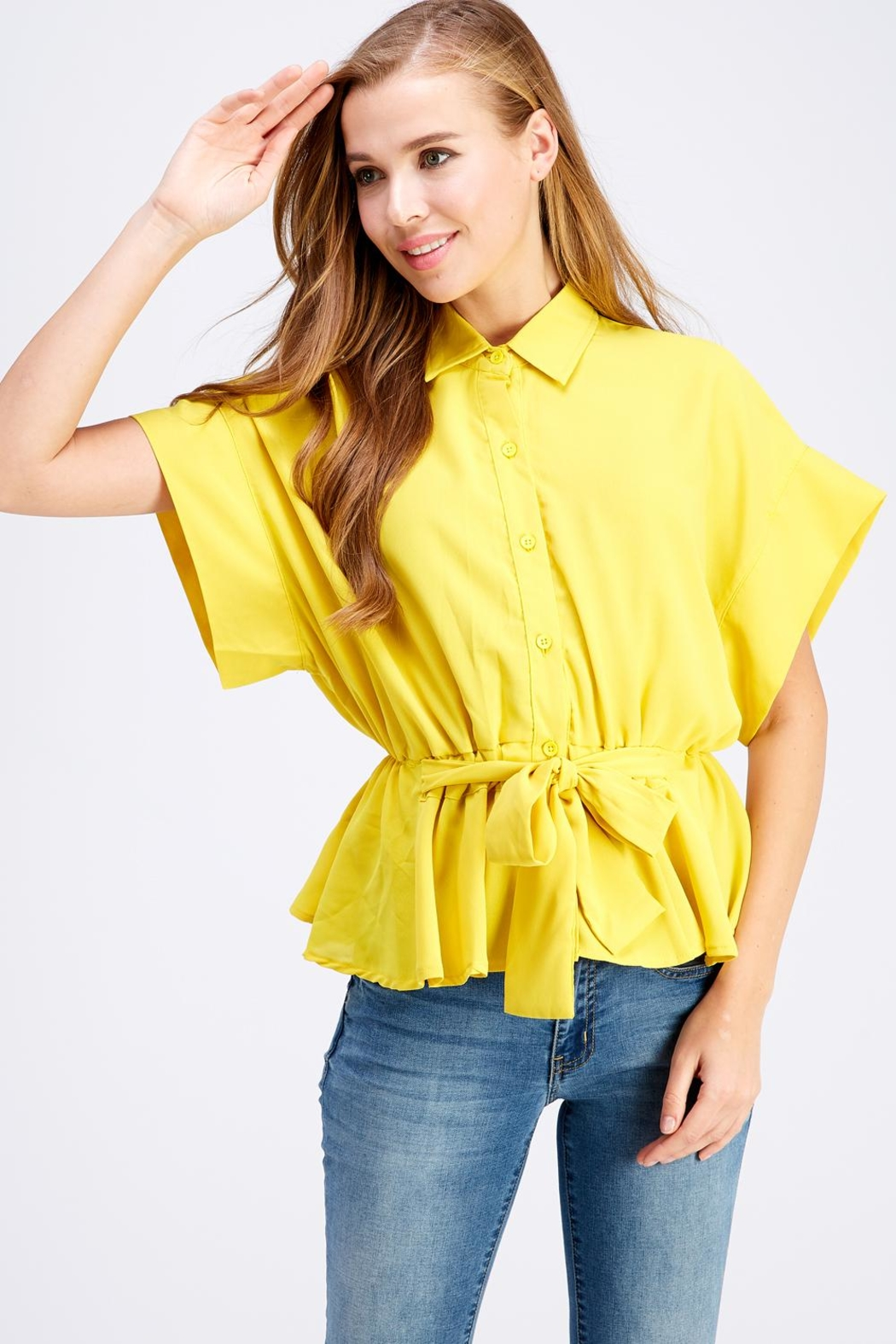 Favlux Button-Down Poncho Top - Front Cropped Image